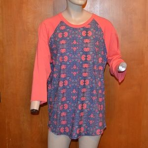 LuLaRoe Pink Blue Floral Baseball T-Shirt Size 2X